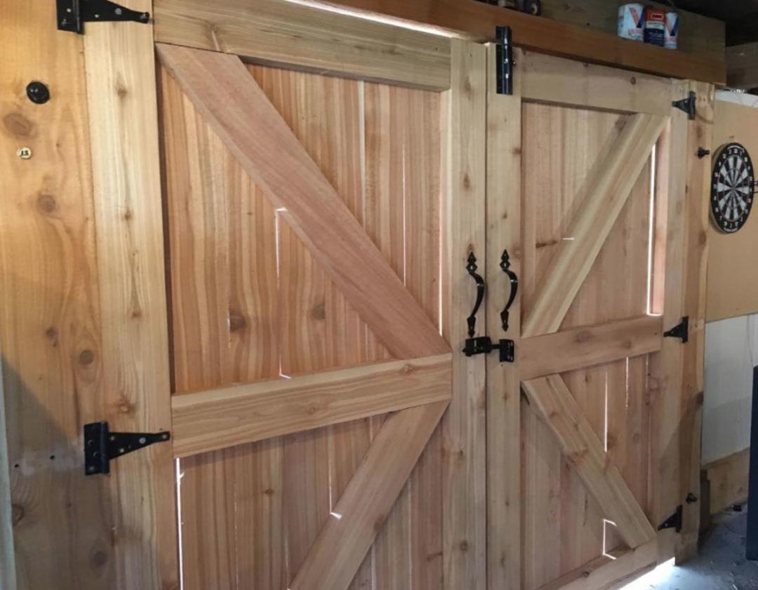 Custom Cedar Doors Built For A Man Cave