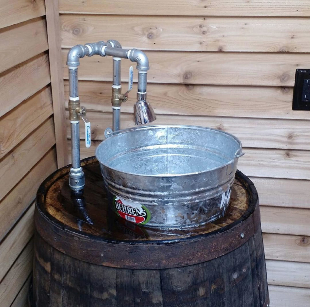 Whiskey Barrel Sink For Man Cave Bathroom